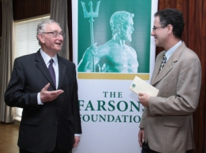 Bryan Gera, chairman of the Farsons Foundation, presents MJA sponsorship to the chairman of IGM, Malcolm Naudi.